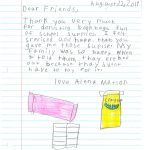 Student Thank you For Miller Elementary School #11