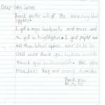 Student Thank you For Miller Elementary School #60
