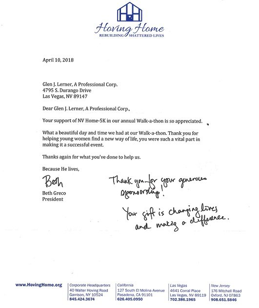 Letter of Thanks from Hoving Home
