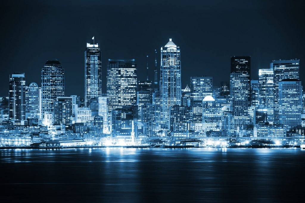 Seattle fact skyline night